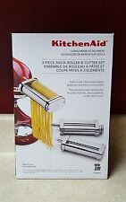 NEW KitchenAid 3 Piece Pasta Roller & Cutter Attachment Set Silver Stand Mixer