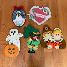 Lot Vintage Plastic Canvas Completed Holiday Decor Xmas Halloween Thanksgiving +