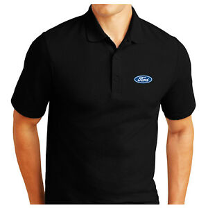 PERSONALISED FORD LOGO EMBROIDERED PIQUE POLO SHIRT WORK OUTDOOR SPORT BIRTHDAY