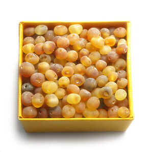 Baltic amber loose beads unpolished raw 100 pcs