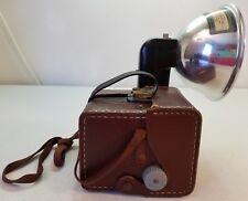 Vintage Kodak Brownie Hawkeye Camera With Flash and Brown Case Untested As Is