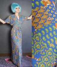 VTG 60s 70s MOD Maxime Patchwork WRAP Rainbow Cotton FLORAL GODDESS Dress S M