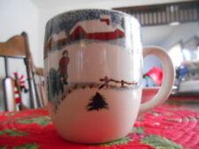 Winter Side GRAND Mug (s) 16 oz. Folkcraft Stoneware Green White Blue Red !