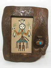 """Vintage Framed Navajo Sandpainting Faux Wood Turquoise Stone 8"""" Signed"""