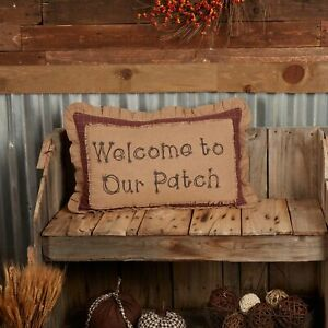 """VHC Brands Country 14""""x22"""" Welcome to Our Patch Pillow Tan Landon Holiday Decor"""
