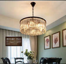 Restoration Rhys Clear Glass Prism Chandelier Round K9 Crystal E14 Ceiling Lamp