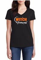 Ladies V-neck Witch & Famous T-Shirt Halloween Costume Funny Women's Tee Shirt