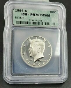 1994 S Proof Silver Kennedy Half Dollar Coin ICG PR70 DCAM Deep Cameo Gem
