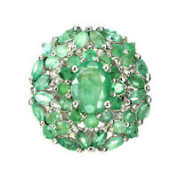 Unheated Oval Green Emerald 8x6mm White Gold Plate 925 Sterling Silver Ring 7