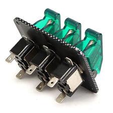 3 Led GREEN Racing Car Ignition Switch Panel Engine Start Starter LED Toggle 12V