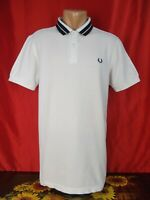 """Fred Perry Mens L Large Polo Shirt White Short Sleeves Twin Tipped 21"""""""