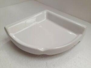 Bright White Ceramic Corner Shower Shelf Ledge Soap Tray Arctic White Color 0190