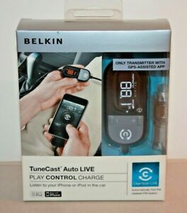 Belkin Tunecast Auto Live Play Control Charge iPhone Transmitter w/ GPS App
