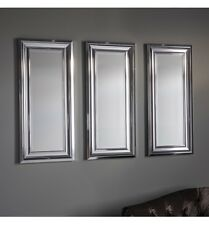 "Bowen Chrome Effect Frame Trio Set of 3 Rectangle Accent wall Mirrors 16"" x 36"""