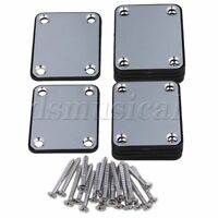 Chrome 64x51x2mm Neck Size Square Plate for Electric Guitar Set of 10