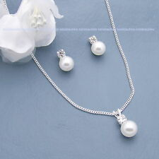 Three Pearl Necklace Sets Bridal Crystal Wedding Bridesmaids Gift Silver SP #3