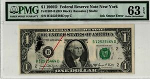 1969-D $1 One Dollar Federal Reserve Note Error PMG MS63 EPQ Ink Smear Error