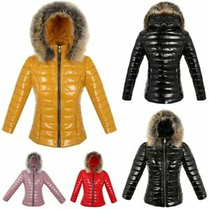 Ladies Womens Thick Parka Coat Slim Fit Padded Shiny Zip Up Hooded Puffer Jacket