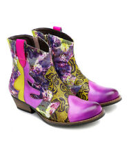 Iliyah Purple Floral  & Tapestry Leather Ankle Boots-Size 8