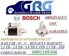 MOTORINO AVVIAMENTO BOSCH ORIGINALE  IVECO DAILY C29-C35 R.MASCOTT 0001109306