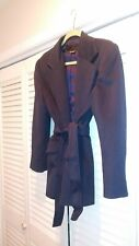 Clifford Michael Canada Woman Sz 8 Navy Lined  Jacket Coat with Tie Belt.