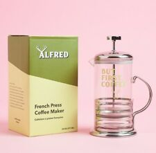 "ALFRED ""But First, Coffee"" French Press Stainless Steel Maker FabFitFun 20oz NIB"