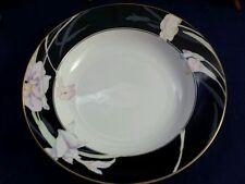 Vintage Mikasa China Soup Salad Bowls Charisma Black L9050 Porcelain Floral NICE