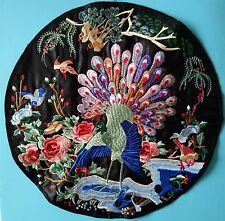 """VINTAGE PEACOCK BIRDS PEONY FLOWER QUILT PANEL Embroidered Piece Patch 14"""""""