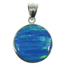 Colgante circular de ópalo azul con cadenilla ZDP1744