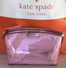 Kate Spade SABINE Pink Metallic/Sapphire Clear Medium Cosmetic Bag/Pouch/Case