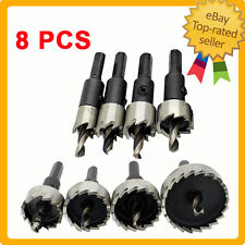 8 Pcs Set HSS Tip Metal Drill Bit Hole Saw Alloy Wood Cutter 15mm ~ 60mm