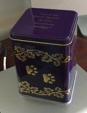 New listing Dog Treat Holder Keepsake Memorial Cremation Pet Tin Urn - w/ Rainbow Bridge Lid