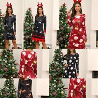 Cocktail Dresses Christmas Long Sleeve Womens Party Dress Evening Floral A Line
