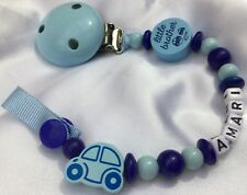 ♕ LITTLE BROTHER ♕ Personalised DUMMY CLIP - Your Name Choice ♕ BABY BLUE ♕