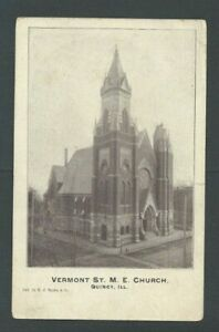 Ca 1906 Post Card Quincy IL Vermont St M E Church Has Bend On Bottom