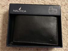 NAUTICA Passcase Billfold Black Smooth Leather Wallet-New In Gift box