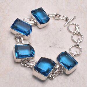 Blue Topaz Ethnic Handmade Bracelet Jewelry 30 Gms AB 69926