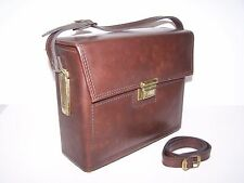 Vintage Genuine Leather Hardcase Camera Bag with Removable Shoulder Strap