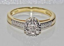BELLISSIMA 9ct giallo oro e argento Diamanti Fancy Anello Di Fidanzamento-Taglia P