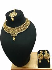 Indian Ethnic Bollywood Style Gold Plated Fashion Jewelry Gold Necklace Set