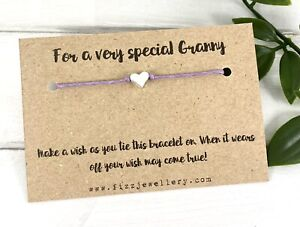 """""""For A Very Special Granny"""" Silver Heart Message Card Wish Bracelet Gift Xmas"""