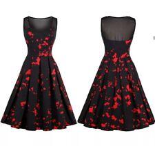 Halloween Rockabilly Black & Red Blood Splattered Swing Dress Women Pin Up