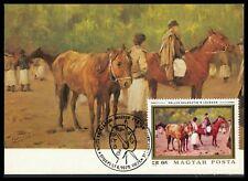UNGARN MK 1979 GEMÄLDE PFERD PFERDE HORSE CHEVAL CARTE MAXIMUM CARD MC CM cz49
