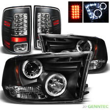 For 2010-2017 Dodge Ram Twin Halo LED Projector Headlights+LED Tail Lamp Lights