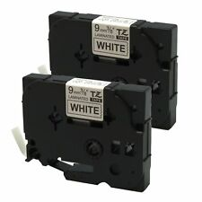 2PK Black on White Label Tape For Brother TZe-221 TZ-221 PT-1290 P-touch 9mm 8m