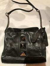 Top Shop Charcoal Gray Metal Studded Disco Cross Body Shoulder Bag