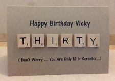 Personalised 30th, 40th, 50th & 60th Birthday Scrabble Letter Card
