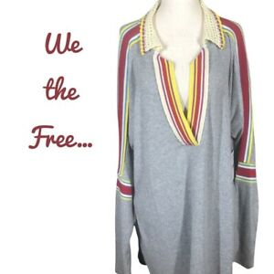 FREE PEOPLE Womens Grey Pullover Crochet Collar Ribbed Top Red Stripe Contrast L