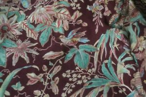 19th century French Indienne bed cover, exotic flowers, birds and foliage