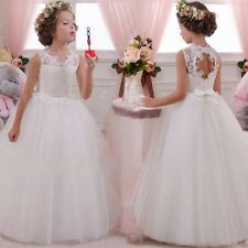 Lace White IVORY Wedding Girls Dress Princess Bridesmaid Tulle Party Kids Clothe